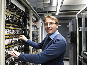 Michael Müller in the MorphoSys Server Room