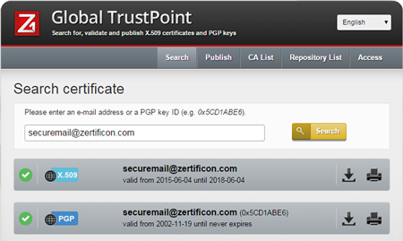 key certificate meta search-engine