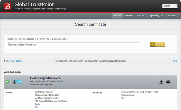 Screenshot: Z1 Global TrustPoint – search for public user certificates