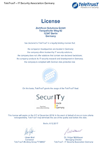 IT Security made in Germany License Zertificon
