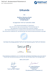 IT Security made in Germany Urkunde Zertificon