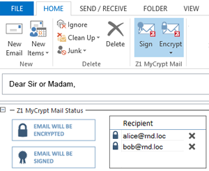 Z1 MyCrypt for MS Outlook