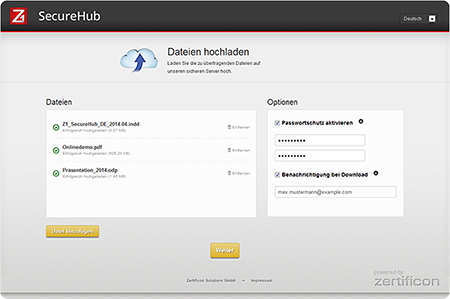 Z1 SecureHub: Upload