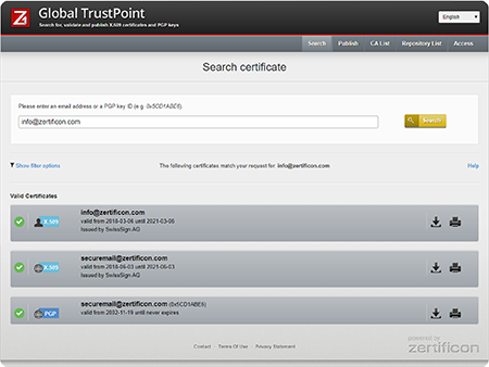 Search and find email encryption certificates with Z1 Global TrustPoint
