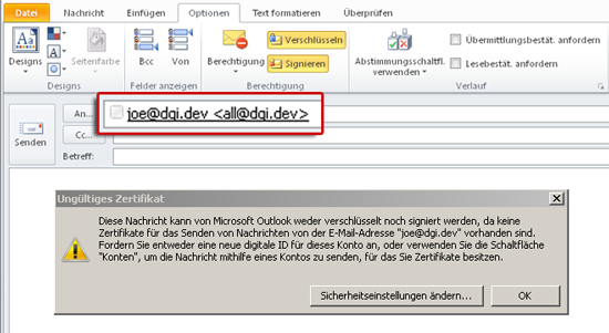 Fehlermeldung durch Domainzertifikat in Outlook