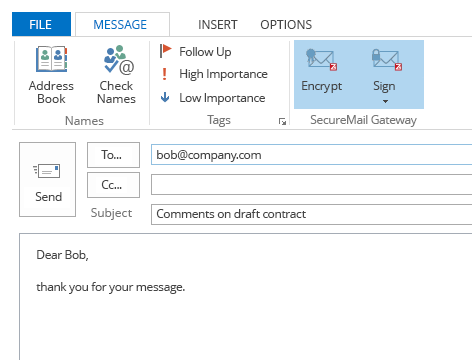 MS Outlook Encryption Plugin: Z1 MyCrypt encryption trigger Z1 SecureMail Gateway security actions from your mail client